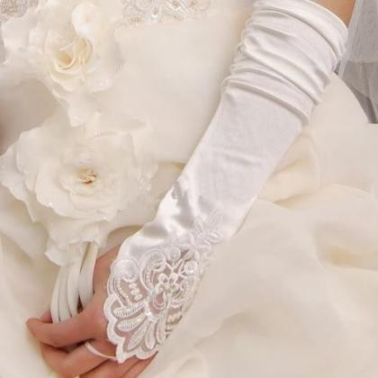 New White/ Ivory Satin Gloves,Lace ..
