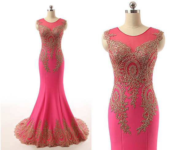 Pink Lace Wedding Guest Dress : Lace gold and hot pink mermaid chiffon long prom dress wedding guest
