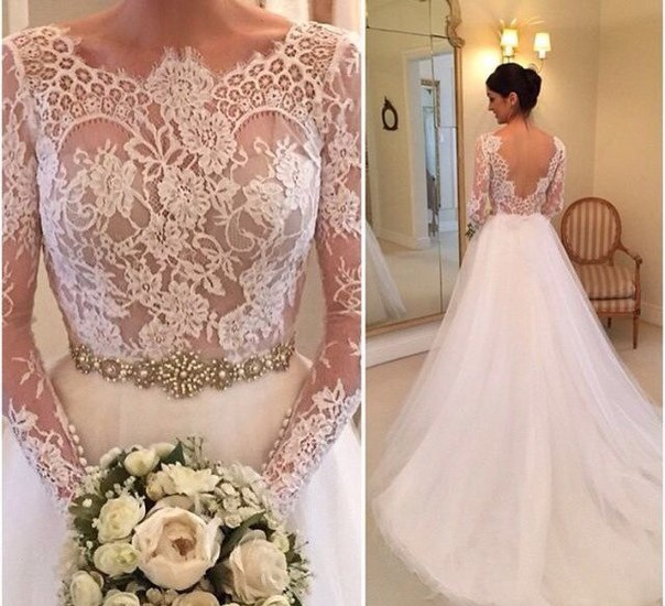 Wedding dress tulle wedding dresses crew neck sheer long for Crew neck wedding dress