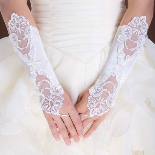 New Ivory Bride Gloves,Wedding Party Dress Gloves,Fingerless Pearl Lace Satin Bridal White Gloves