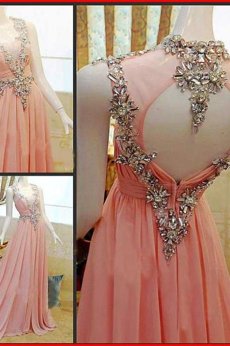 Pink Backless Prom Dresses,Prom Gowns, Pink Prom Dresses,Long Prom Gown,Prom Dress,Sparkle Evening Gown,Sparkly Party Gowbs
