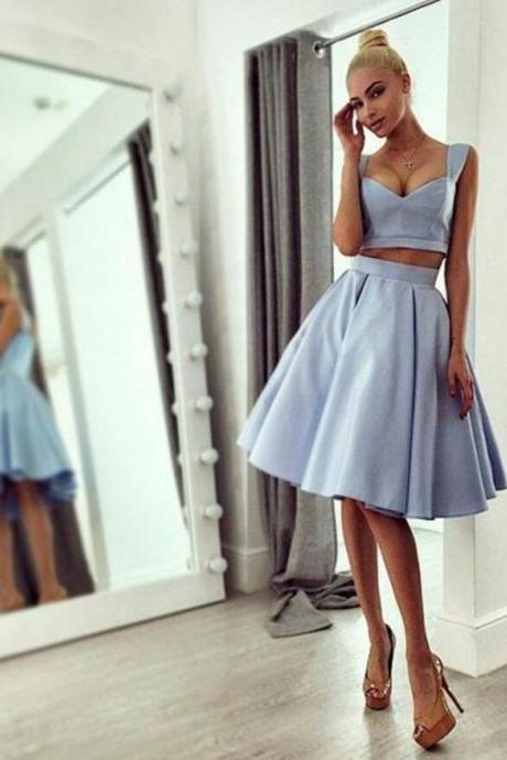 Chic Ball-Gown Knee-Length Straps Light Blue 2017 A Line Prom Dress