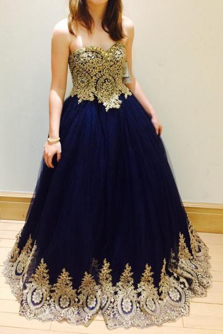 Navy Prom Dress with Gold Appliques Prom Dresses