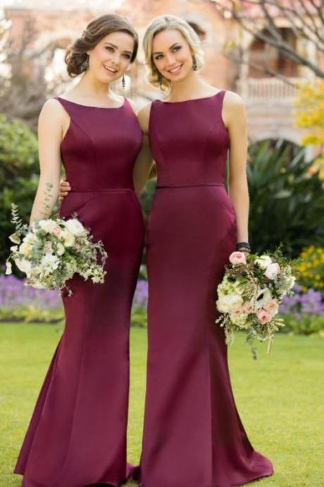 Gorgeous 2017 Bridesmaid Dress, Maroon Long Bridesmaid Dress, Mermaid Long Bridesmaid Dress Wedding Party Dress