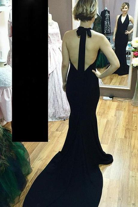 Black Prom Dresses,Prom Dress,Black Halter V Neck Backless Mermaid Evening Gown With Sweep Train