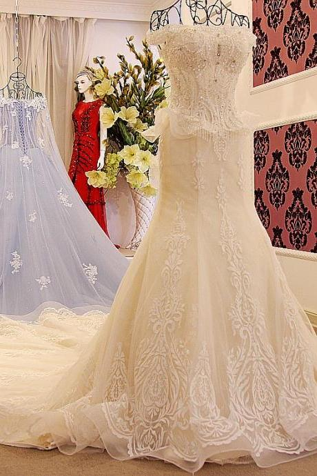 Arabia Wedding Dresses,Off-the-Shoulder Mermaid Embroidery Lace Wedding Dresses Ivory Wedding Dress Bridal Gown Catherdral Train