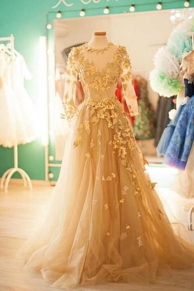 Long Sleeve Gold Long Prom Dress,Long Prom Dresses,Charming Prom Dresses,Evening Dress Prom Gowns, Formal Women Dress,prom dress