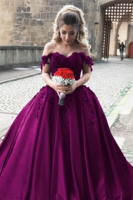 Cheap wedding dresses,satin wedding gowns,off shoulder bride dress,elegant wedding dress,ball gowns wedding dresses,grape ball gowns