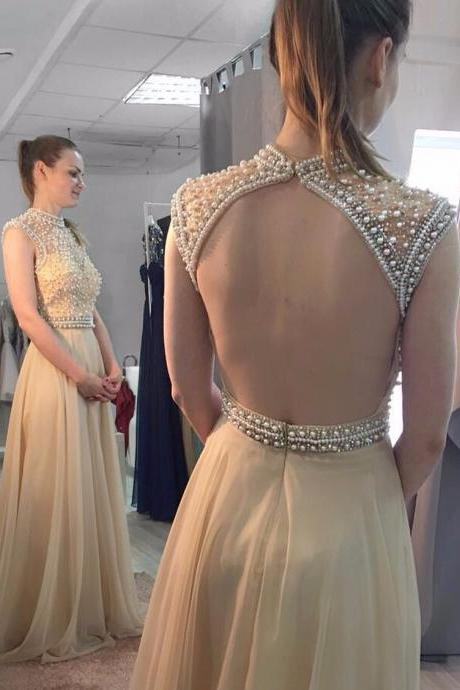 Cheap prom dresses, Custom Made Prom Gowns, A Line High Neck Pearls Top Champagne Chiffon Prom Dress,Open Back Long Evening Dresses