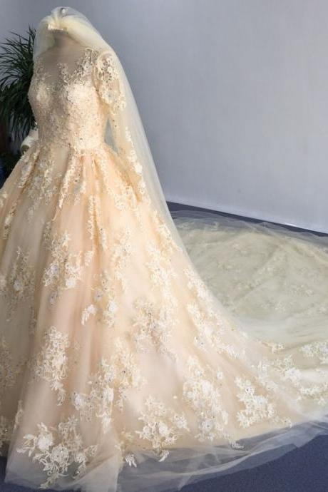 Cheap wedding dresses,Glamorous O Neck Appliqued Beaded Stunning Long Sleeve Ball Gown Wedding Dresses Champagne Appliques Royal Train Tulle Bride Wedding Dress