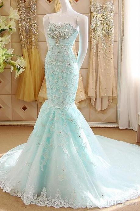 Cheap prom dresses ,Sexy Sweetherat Mermaid Evening Dresses Applique Beading Prom Dresses