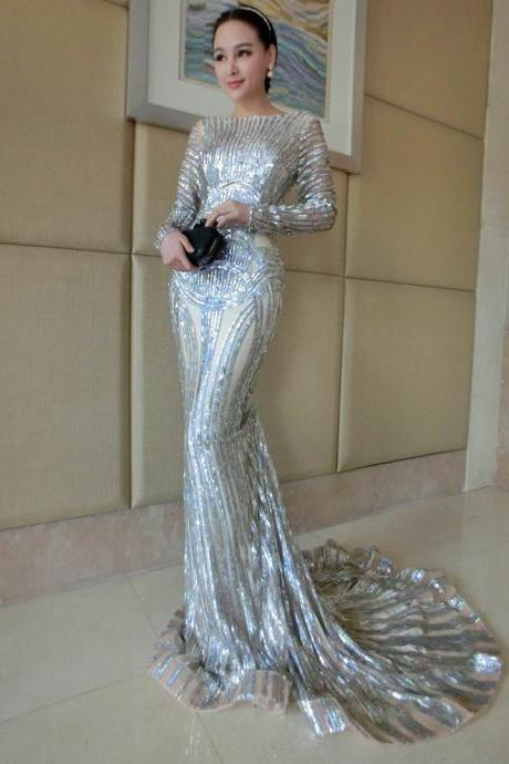 Luxury Silver Prom Dress,Mermaid Prom Dresses, Long Sleeve Sheer Neck Sequins Court Train Pageant Gowns Women Evening Dresses Cusomized