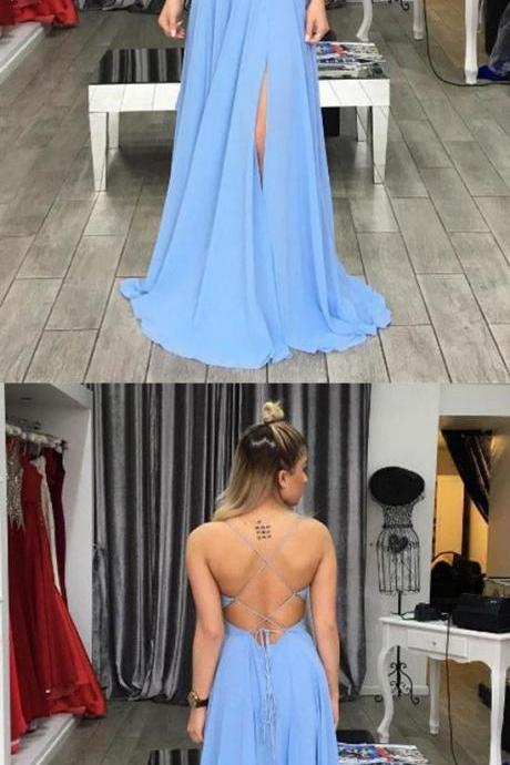Charming Prom Dress,Sexy Prom Dresses,Chiffon Evening Dress,Sleeveless Evening Dresses,Open Back Prom Dresses