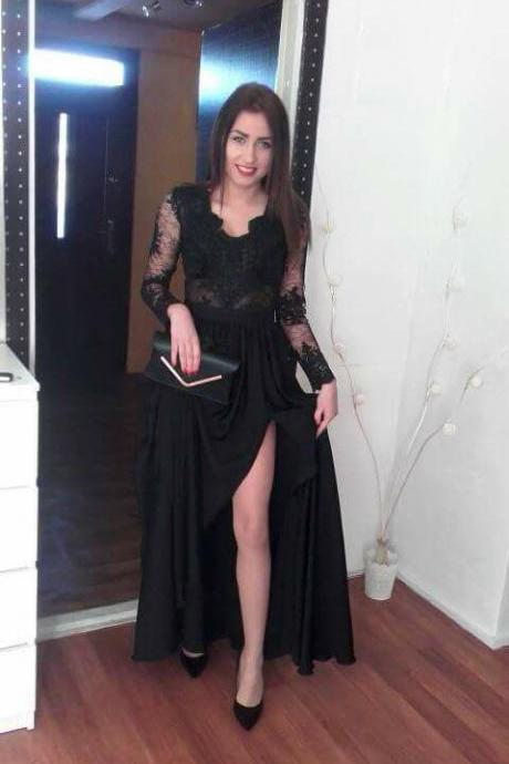 Charming Prom Dress,Black Prom Dress with Slit, Full Sleeve Evening Dress,Lace Long Prom Dresses