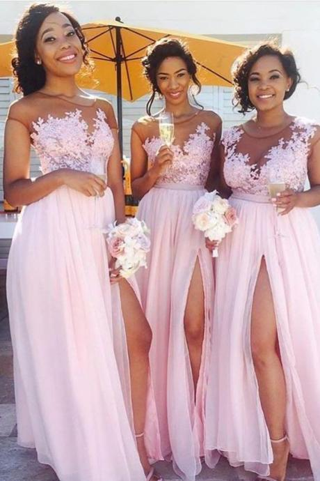 Lace Appliqued Sexy Bridesmaid Dresses,Pink Bridesmaid Dresses,Long Bridesmaid Dresses with Slit