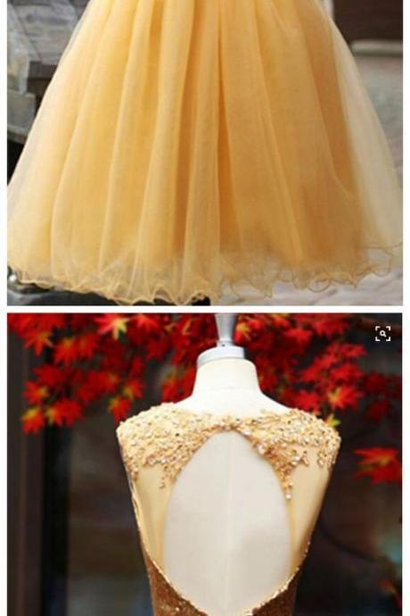 Open back Homecoming Dress,Quinceanera Homecoming Dress,Sequined Homecoming Dress
