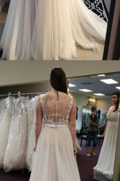 Long wedding dress, plus size lace wedding dressES, white long wedding dress