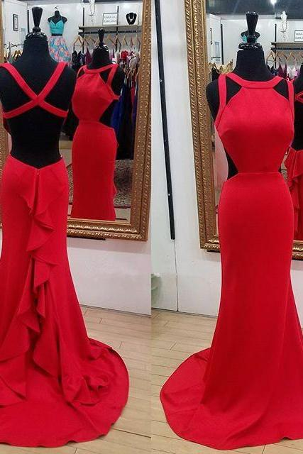 Special Red Prom Dresses,Mermaid Prom Dress, Long Backless Prom Dress