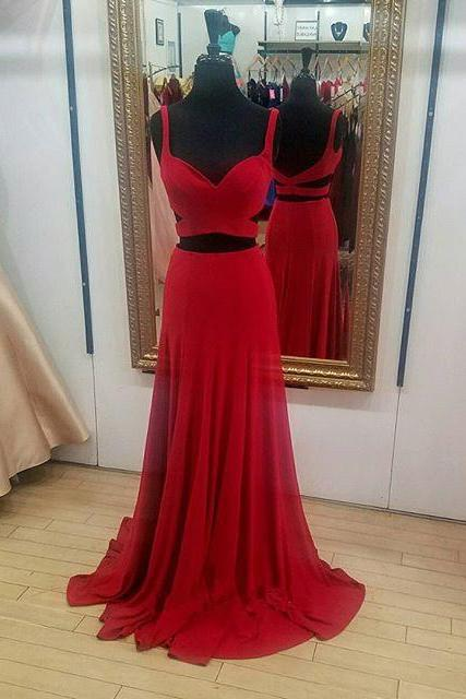 Special Two Piece Mermaid Red Long Prom Dress