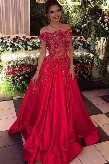 A-Line Prom Dress,Off the Shoulder Sweep Train Prom Dresses,Red Satin Prom Dresses, with Beading Lace Formal Dresses