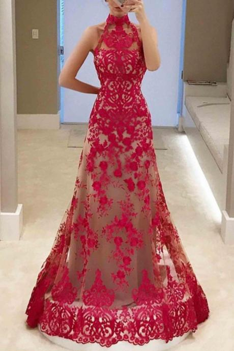Floor-Length Red Prom Dresses,A-Line High Neck Prom Dress,Sleeveless Lace Prom Dress