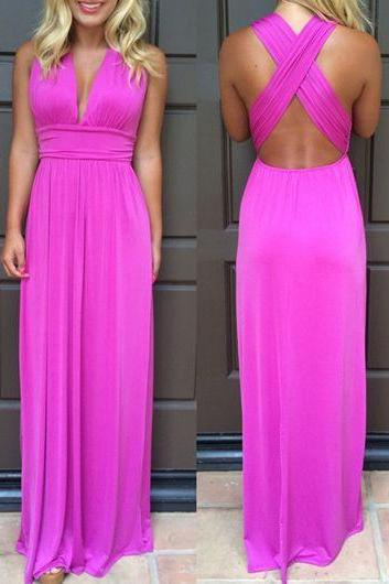 Fuchsia Deep V Neck Prom Dresses,Crisscross Back Long Chiffon Prom Dress