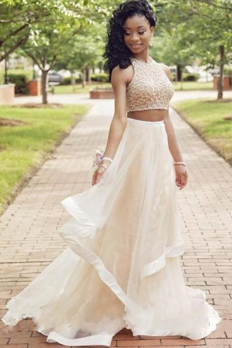 Champagne Prom Dress,Two Piece Prom Dresses ,Beaded Prom Dress