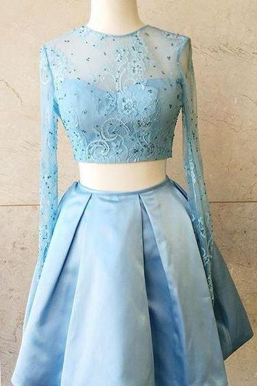 High Fashion Two-Piece Homecoming Dresses,Light Sky Blue Long Sleeves Short Homecoming Dress