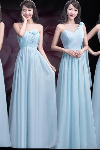 Custom Made Light Blue Floor Length Chiffon Bridesmaid Dresses