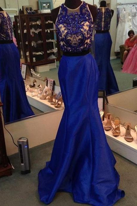 Two Pieces Long Dress Beaded Bodice prom dresses,evening gowns,2 pieces prom gowns,royal blue prom gowns,new style fashion prom gowns