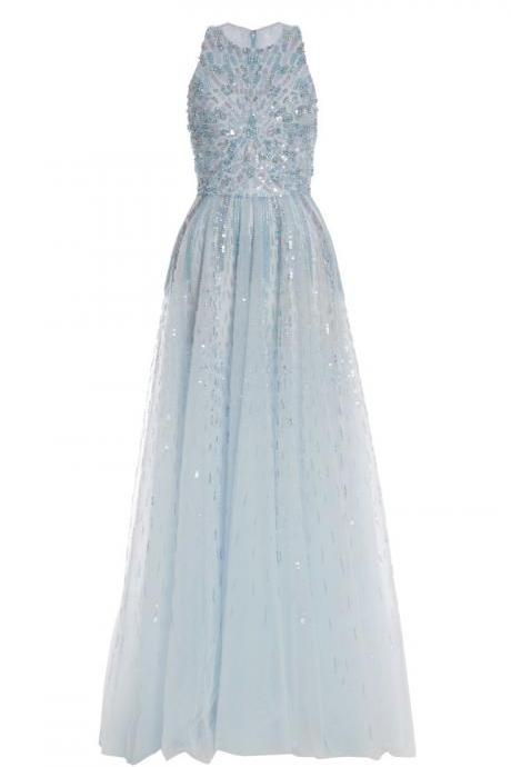 Light Blue Prom Dress,Sleeveless Long Prom Dresses,Tulle Dress with Sequin Embellishment and Crew Neck
