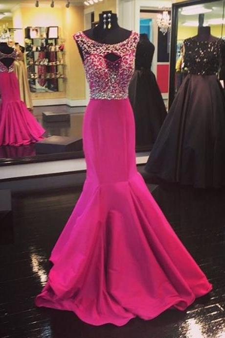 Pink Prom Dress,New Arrival Sexy Evening Dress,Mermaid Formal Dress,lace Prom Wedding Dress,sparkle prom gowns