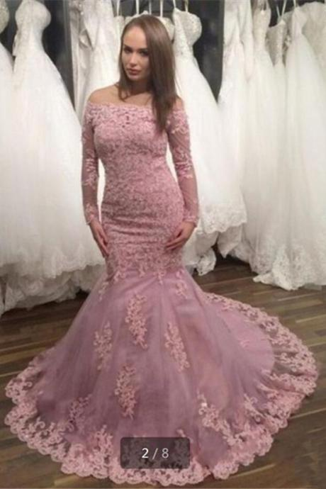 New Arrival Sexy Evening Dress,Pink Prom Dress,Mermaid Formal Dress,lace Prom Wedding Dress,off the shoulder prom gowns