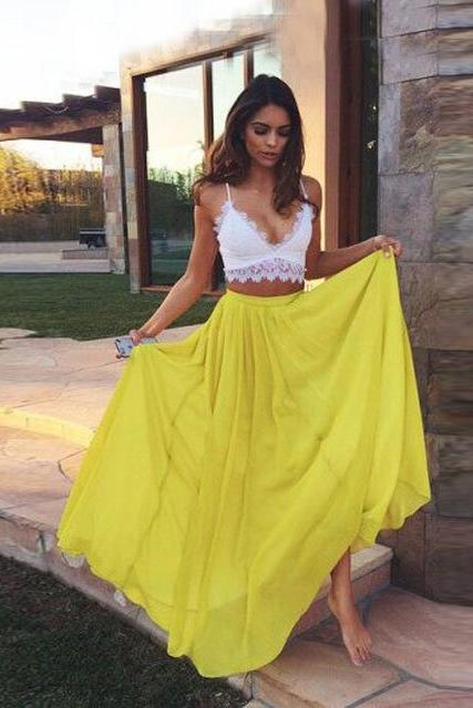 Prom Dresses,2 pieces Prom Dress, Prom Dresses,2 piece Prom Dresses,yellow Evening Dress ,Formal Prom Dress,Long Evening Dress