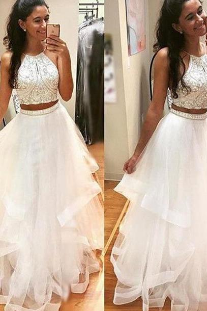Prom Dress,White Prom Dresses,Two Piece Prom Gown,Long Prom Dress,Prom Dress Cheap,Affordable Prom Dress,Junior Prom Dress,Formal Dress,Evening Dresses,Party Dress,Custom Plus size