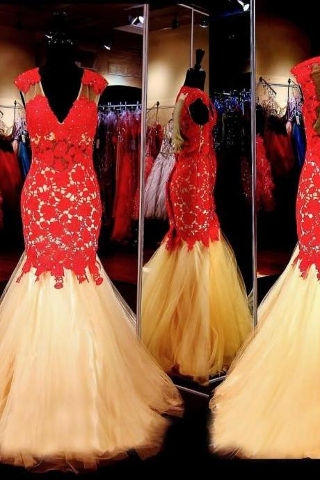 Gold Prom Dress with Red Lace,Formal Dress,Prom Dress Mermaid,Lace Prom Gown,Prom Dress Long,Homecoming Dress Long, 8th Grade Prom Dress,Holiday Dress,Evening Dress Red, Long Evening Dress,Graduation Dress, Cocktail Dress, Party Dress