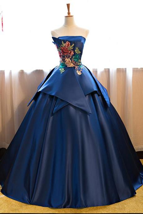 Royal Blue Floor Length Prom Dress Satin Wedding Gown Featuring Floral Embroidered Strapless Prom Dresses