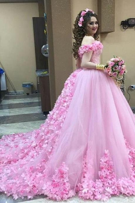Pink Wedding Dresses,Flower Wedding Dress,Tulle Quinceanera Dress,