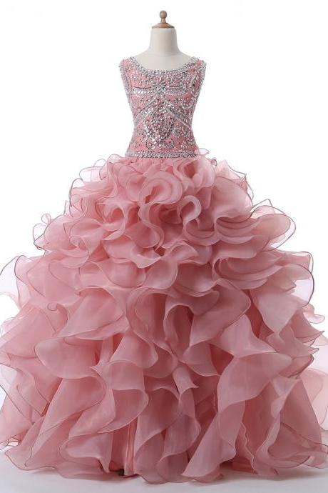 Charming Prom Dress, Blush Quinceanera Dress Organza Ruffled Floor Length Sleeveless Rhinestones Crystals Sequins Sweet 16 Dresses