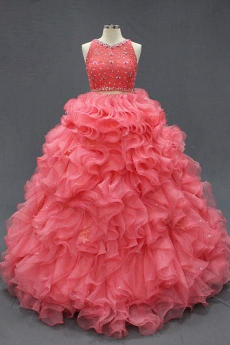 Blush Quinceanera Dress Organza Ruffled Floor Length Sleeveless Rhinestones Crystals Sequins Sweet 16 Dresses Prom Dresses