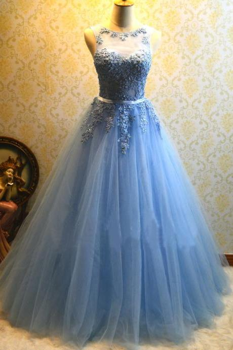 Ball Gown Blue Prom Dress,Tulle Appliques Prom Dresses,Long Quinceanera Dresses