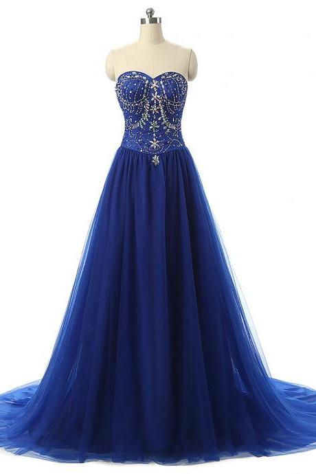 A-Line Prom Dress Featuring Crystal Embellished Sweetheart Bodice and Sweep Train Prom Dresses