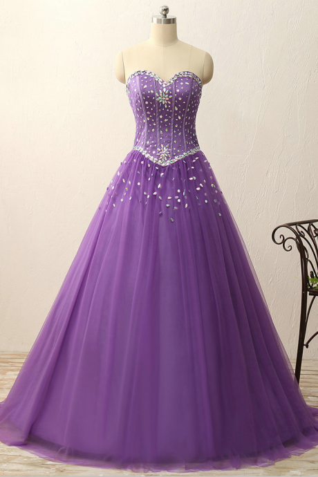 Charming Prom Dress, Formatura Sweetheart crystal beads satin tulle floor length ball gown vintage dress Prom Dress