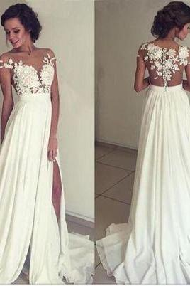 Floral Lace Appliques Off-The-Shoulder Floor Length Chiffon A-Line Wedding Dress Featuring Slit and Sweep Train