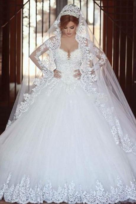 Lace Appliques Off-The-Shoulder Sweetheart Long Mesh Sleeves Floor Length Tulle Wedding Gown Featuring Train