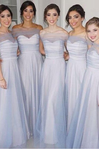 Custom Made Illusionary Off-Shoulder Tulle A-line Evening Dress, Prom Dresses, Bridesmaid Dresses, Bridal Collection