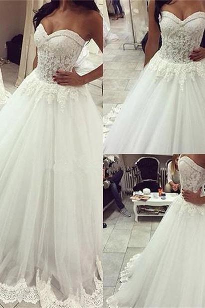 Long A-line Wedding Dress, Lace Top Tulle Wedding Dresses, Cheap White Wedding Party Dresses, Best Bridal Gowns