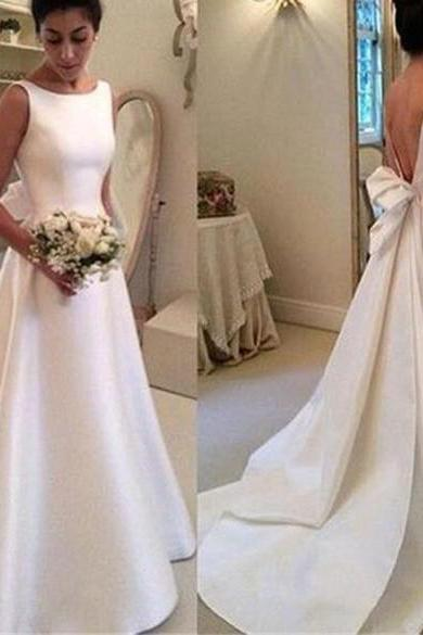 Satin Backless Wedding Dress, Long SimpleWedding Dresses, White Noble Charming Party Dress, Cheap Wedding Dress, Cheap Bridal Gowns