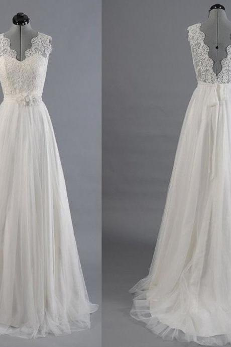 Sleeveless V-Neck A-line Wedding Dress with Lace Appliqués and V-Back