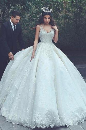 Charming Tulle Ball Gown Wedding Dress, Appliques Lace Appliques Wedding Gown Bridal Dress